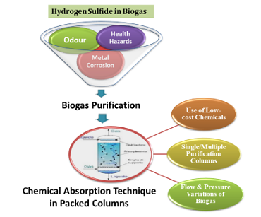 Hydrogen sulfide removal from biogas using chemical absorption technique in packed column reactors