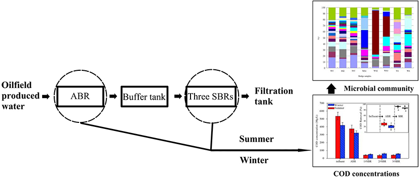 Seasonal variations of microbial community in a full scale oil field produced water treatment plant