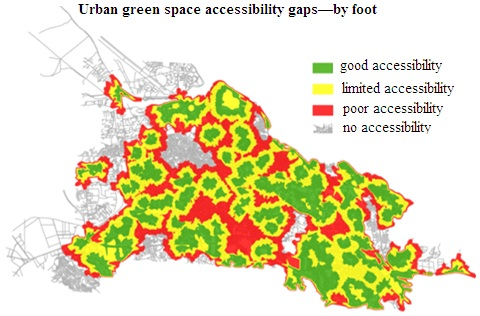 An approach towards effective ecological planning: Quantitative analysis of urban green space characteristics