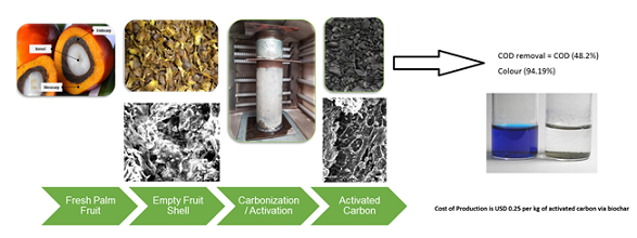 Conventional steam activation for conversion of oil palm kernel shell biomass into activated carbon via biochar product
